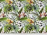 Zanderino ab 1m: Panama Dekostoff, Urwald Blumen, weiß-grün-orange, 140cm breit