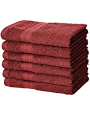 AmazonBasics Fade-Resistant Cotton Hand Towel - Pack of 6, Crimson