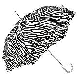 VON LILIENFELD Regenschirm Damen Mode Sonnenschirm Brautschirm Hochzeitsschirm Mary-Poppins-Schirm Automatik Mary schwarz weiß gestreift Zebra mit Rüschen