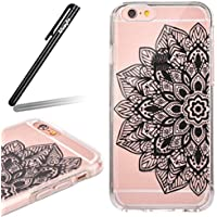 Ukayfe 2 in 1 Custodia per iPhone 6/6S 4.7 In TPU silicone e plastica Stilosa Fresco Copertura custodia cassa case protettiva cover bumper per iPhone 6/6S 4.7 ,Moda Serie Pattern Back Cover Crystal Skin Custodia Stilosa custodia di design Protettiva Shell Case Cover antigraffio Cover posteriore- Stilosa custodia di design in morbido TPU Con Free Stilo Penna-Fiore nero Metà