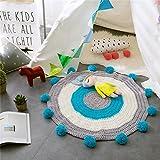 DT&MZ Handgewebte Matten Teppich Stricken Für Kinderzimmer,Blau,80 X 80 cm