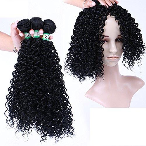 3 Paquets Kinky Cheveux bouclés Haute température fiber Synthétique Sexy Curly Weave Synthétique Extensions de Cheveux Humains Naturel Noir Couleur (16\