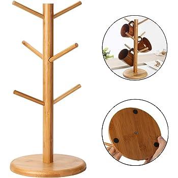 Kitchen Storage & Organization Racks & Holders Artisan Wood Stand 6 Mug Holder Tree With Stainless Steel Hooks
