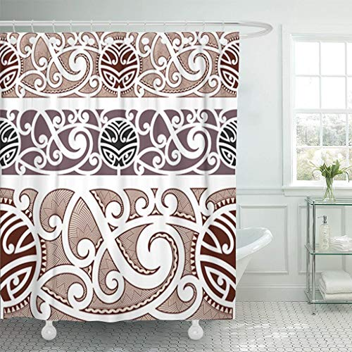 Longtrade tenda da doccia per bagno shower curtain shower curtain brown tattoo maori styled pattern polynesian tribal wave armband waterproof polyester fabric set with hooks 48