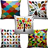Decorative Hand Made Digitally Printed Abstract 5 Piece Cotton Cushion Cover - 16