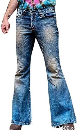 Uomo StoneWashed Flares Bottoms Bell Jeans Denim Hippie Indie Pantaloni a Zampa d'elefante
