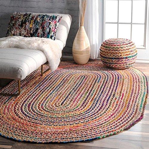 Rugsite-Matten aus Jute, oval, rustikal, geflochten, 90 x 150 cm Teppiche im amerikanischen Stil für Küchen, Wintergärten. Versand aus Großbritannien