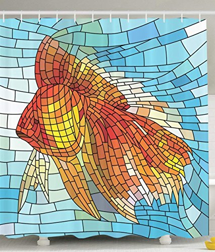 Fish Shower Curtain Personalized Decor Abstract Design for Bathroom Orange Tropical Fish Style with Mosaic Art Pattern Stained Glass Window and Gold Fish Underwater Blue Ocean Decorations Print -