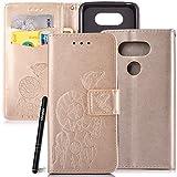 Slynmax Schutzhülle Kompatibel mit LG G5 Hülle Weich PU Leder Tasche Flip Case Wallet Ledertasche Campanula Hand Strap Brieftasche Lederhülle Slim Handyhülle Klapphülle mit Stand Karte Halter,Gold