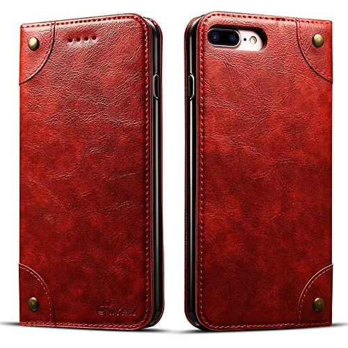 """HARRMS Apple iPhone 7 Plus/8 Plus 5,5"""" Leder Hülle Flip Case Handytasche und Brieftasche mit Kreditkarten Kartenfach mit Unsichtbarem Magnet Verschluss Standfunktion, Rot"""