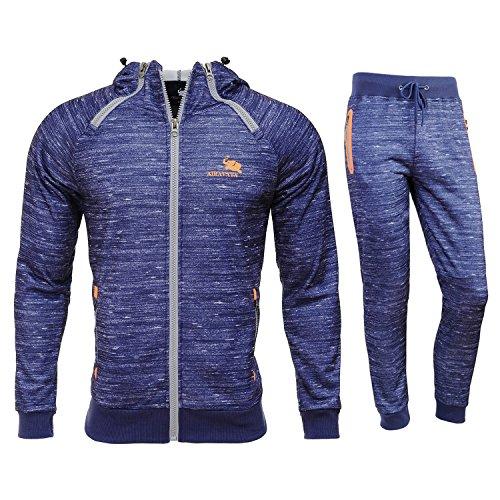 Airavata Homme Ensemble Pantalon de Sport Sweatshirt à capuche Jogging Survêtement - Bleu6 - X-Large