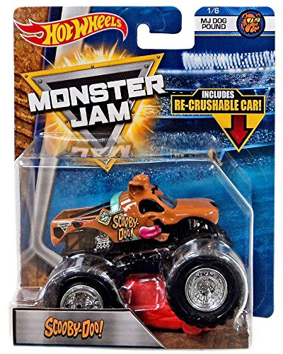 SCOOBY-DOO HOT WHEELS MONSTER JAM TRUCK MJ DOG POUND 1/6 w/ RE-CRUSHABLE CAR 2018 Monster Jam-trucks Spielzeug