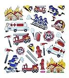 1 Sticker Bogen mit 23 Stück für Jungs; Aufkleber mit Feuerwehr, Feuerwehrauto & Co.; Größe von 1,5 bis 4,5 cm