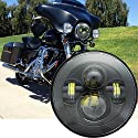 """Biqing 7"""" LED Scheinwerfer Motorrad Auto H4 Lampe Projektor für Daymaker Harley Davidson Sportster Offroad J-eep Wrangler JK TJ LJ CJ Hummber H1 H2 Schwarz Rund"""