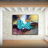 XIAOXINYUAN Abstrakte Kunst Drucke Acryl Gemälde Blue Ocean Wall Bilder Für Wohnzimmer Schlafzimmer Moderne Wohnkultur 50 X 60 cm Ohne Rahmen