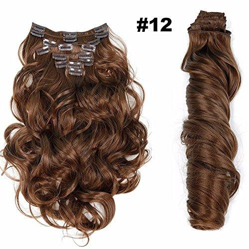 Clip in Haarteil Extensions wie Echthaar Haarteile 8 günstig komplette Haarverlängerung Haarteil Gewellt braun mix #12(55cm, 140g)