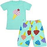 LitBud Niña Pijamas Conjuntos Shorts Manga 100% Algodón Helado Ropa de Dormir Trajes de Dormir 2 Piezas para niños Toddler Re