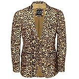 Herren Leopard Rosette Deep Gold bedruckt Italienische Designer Anzug Jacke ausgestattet Blazer