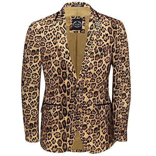 Herren Leopard Rosette Dunkles Gold bedruckt, Italienischer Designeranzug mit Jacke und passendem Blazer - Deep Gold