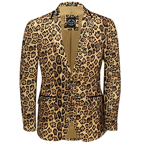 Herren Leopard Rosette Deep Gold bedruckt Italienische Designer Anzug Jacke ausgestattet Blazer Leopard Rosette