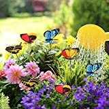 Anna-neek 25 Stück 3D Schmetterlinge Dekoration garten wanddeko aufkleber Wasserdicht Garten Pflanzen Blumentopf Dual Layers Schmetterlinge Dekoration mit Metall Stick Wand Dekor