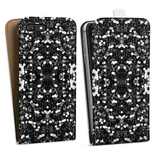 Apple iPhone X Silikon Hülle Case Schutzhülle Glitzer Silber Muster Downflip Tasche weiß