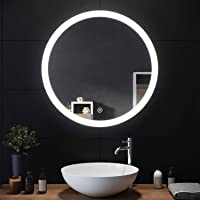 SIRHONA Miroir Rond Salle de Bain Tactile 70x70cm Lumineuse LED Lumineuse Miroir Miroir de Maquillage avec capteur de…