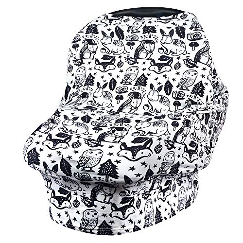 VIVOTE Baby Safe Autositzbezug Stillbezug Stillschal Mehrzweckbezug für Einkaufswagen, Hochstuhl, Kinderwagen, Dehnbar, Atmungsaktiv, Weich, Leicht, Tier