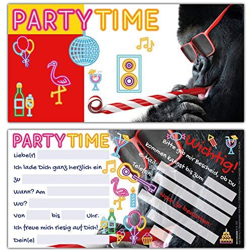 12er Set PARTY-GORILLA Einladungskarten - lustige Premium Einladung zum Kinder-Geburtstag oder Party für Jungen Mädchen & Erwachsene von BREITENWERK