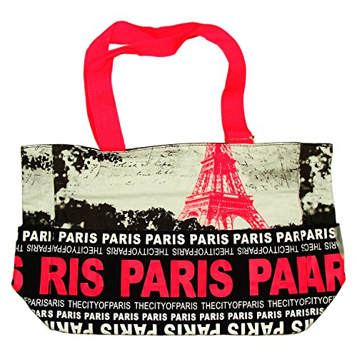 Robin Ruth - Sac Shopping Paris 'Tour Eiffel' - Noir, Fushia