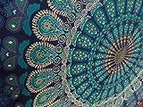 Tapisserie murale mandala indien, Tapisserie hippie, Motifs de plumes de paon, Couvre-lit en coton fait main, Couvre-lit lit double, Serviette de plage, Nappe de pique-nique, Décoration murale 137,2x 218,4cm. Par Krati Exports