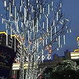 Yukio Baumarkt - LEDs Meteorschauer Lichterkette 20cm/30cm Wasserdichte Lichterkette für Draussen Innenraum Party Weihnachten Dekoration (Weiß-20cm)