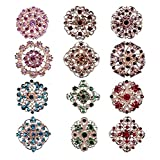 TOOKY 12pcs Mix Set Crystal Brooches Flower Brooch Collar Pin Corsage Bouquet Decor Wholesale Lot DIY BROACH (color)(Size: Medium:3cm-3.5cm)