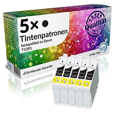 N.T.T.® 5 x Stück XL Druckerpatronen / Tintenpatronen kompatibel zu Epson T1291 Schwarz, Sparpack