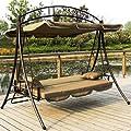 Hollywoodschaukel Gartenschaukel JL51-Braun von JLSun - Gartenmöbel von Du und Dein Garten