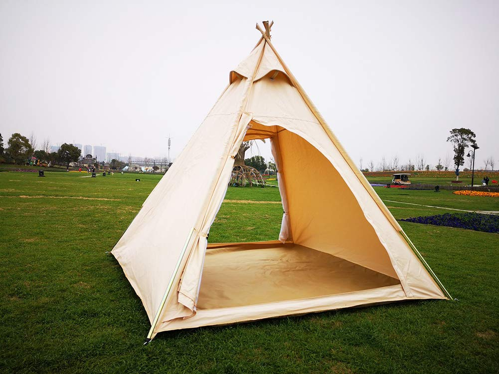 huge selection of a93af 0bdae Latourreg Outdoor Canvas Camping Pyramid Tipi Tent Adult Indian Teepee Tent  For 2~3 Person - Top Teepee UK