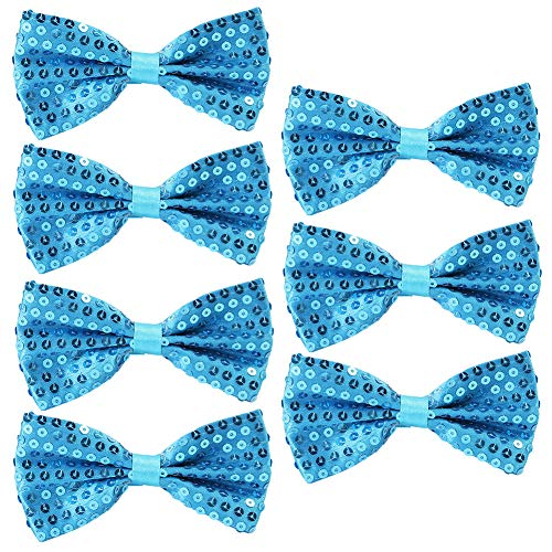 Feelava Pailletten Fliege Schleife 7 Pack Glitzer Fliege Vorgebunden, 7 x 12cm Einstellbare Fliege Eine Grösse passt allen Bow Tie, Herren Damen Kinder Fliege für Fancy Kostüm Party Zubehör (Blue) Party Bow Tie
