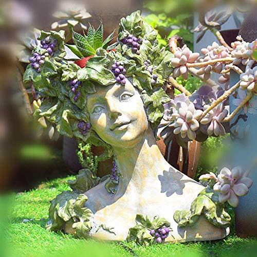 ZHUZHUXIA Gartendekoration Göttin Kopf Harz Pflanzer Blumentopf Dame Vase Griechische Skulptur Römischen Harz Blume Pflanzer 30 * 17 * 34 cm - Griechische Vasen