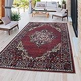 TT Home Moderner Outdoor Teppich Wetterfest für Innen & Außenbereich Perser Design in Rot, Größe:80x150 cm