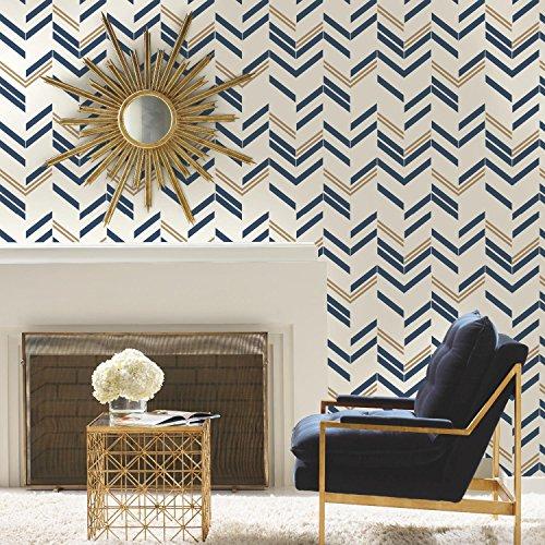 RoomMates RMK9002WP Chevron Stripe Peel and Stick Wallpaper, Blue