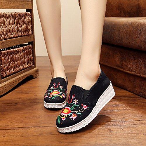 &hua Chaussures brodées, lin, semelle de tendon, style ethnique, féminine, mode, confortable, fond épais une pédale Black