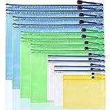 AFUNTA - Carpetas de plástico con cremallera, 7 tamaños, impermeables, bolsas de almacenamiento de PVC, color amarillo, blanco, verde, azul