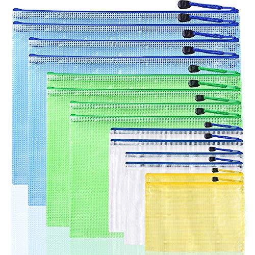 Afunta Dokumentenmappen aus Kunststoff, 7 Größen, wasserfest, mit Reißverschluss, Netzbeutel aus PVC, Gelb, Weiß, Grün, Blau, 14 Stück (21 Pocket-datei-ordner)