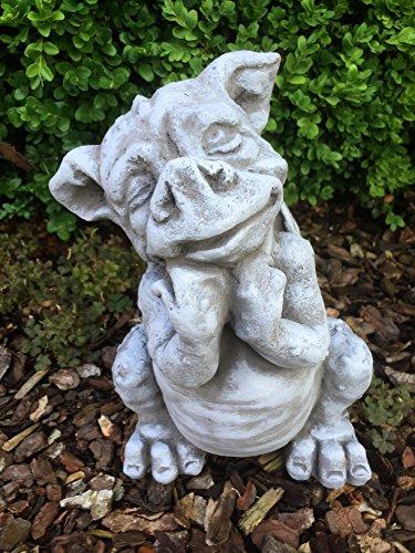 Steinfigur Drache Garten Deko Steinguss Gartenfiguren Drachen Fantasiefigur D20