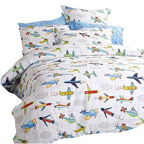 Cartoon Flugzeug, Bettwäsche Sets Fenano–memorecool Haustierhaus 100% Baumwolle eco-friend Färbe-Kinder Raum Home Textiles 3Stück Twin, baumwolle, plane, Volle (Yellow Moses Basket)