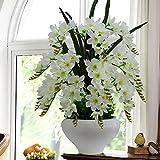Jnseaol Kunstblumen Künstliche Blumen Orchidee Weihnachtsgeschenke Wohnzimmer Hochzeit Party Küche Home Eine Große Verzierung Keramiktopf DIY Weiß -19