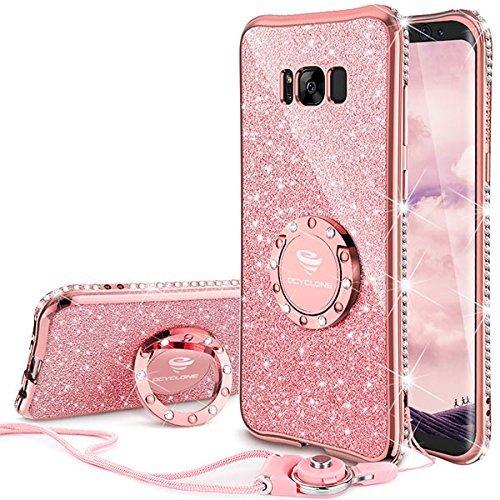 OCYCLONE Funda para Samsung S8,Purpurina Ultra Slim Soft TPU Fundas Movil con Brillo Glitter Dimante Anillo de Teléfono Protectora Samsung Galaxy S8 para Mujer,Oro Rosa