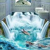 Ohcde Dheark Custom 3D-Bodenbeläge Wandbild Tapeten Stereoskopische Dolphin Wasserfall Stock Aufkleber Malerei Boden Im Badezimmer Einrichtung Vinyltapeten 200cmX140cm(78.7 by 55.1 in )