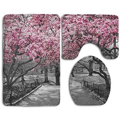 Blossoms In Central Park Cherry Bloom Trees Forest Spring Springtime Landscape Bathroom Rug 3 Piece Bath Mat Set Contour Rug and Lid Cover