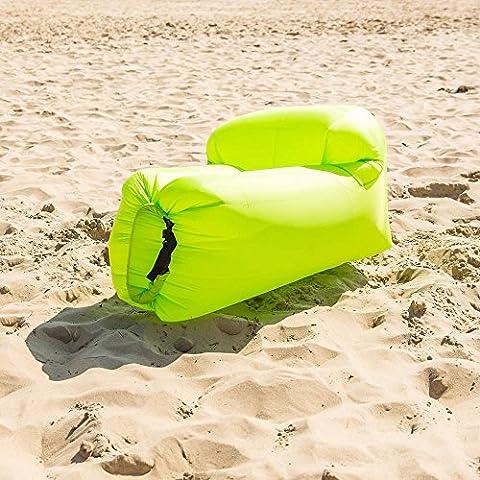 Fauteuil gonflable avec dos et sac de rangement–Cet Air Transat Pod vous permet d'avoir un siège gonflable où–en voyage, plage, vacances, parc, piscine, jardin, camping, Sking., vert citron